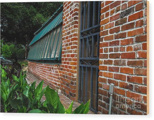 Green House Brick Wall Wood Print