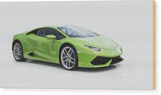 Green Huracan Wood Print
