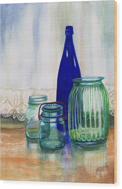 Green Jars Still Life Wood Print