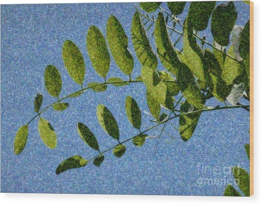 Green Leaves 2 Wood Print