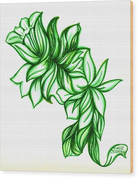 Green Leaves Wood Print by Judith Herbert