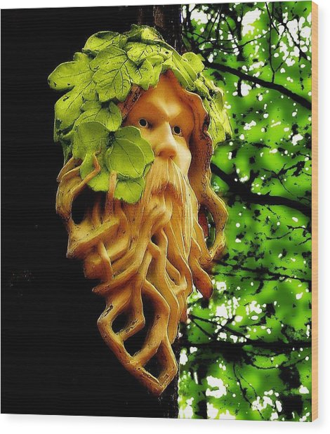 Green Man Wood Print by Jen White