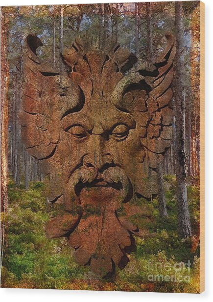 Green Man Of The Forest 2016 Wood Print