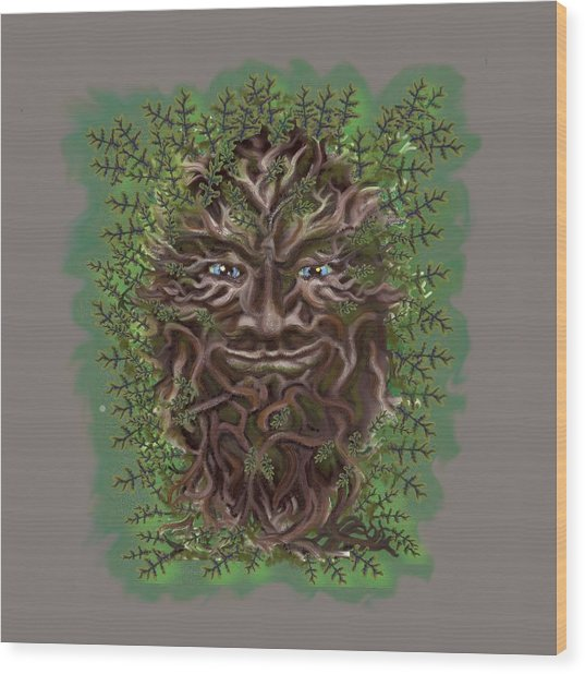Green Man Of The Forest Wood Print