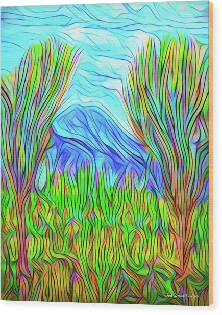 Green Meadow Day Wood Print