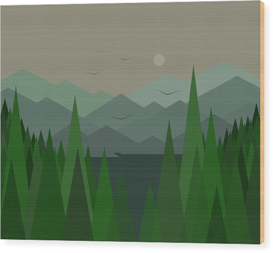 Green Mist Wood Print