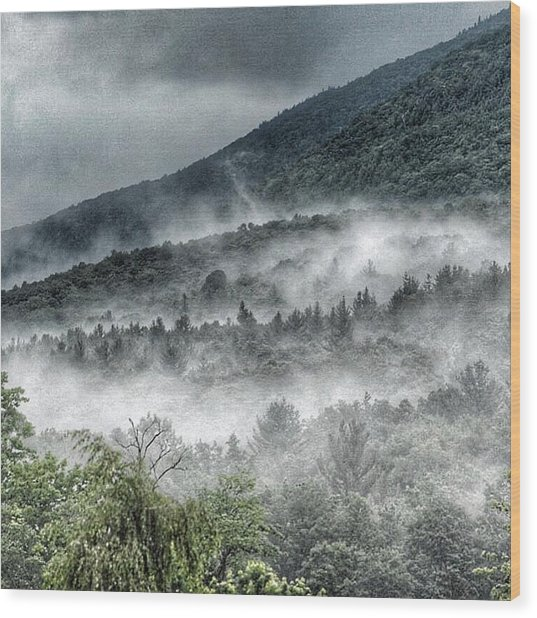 Green Mountains With Fog Wood Print