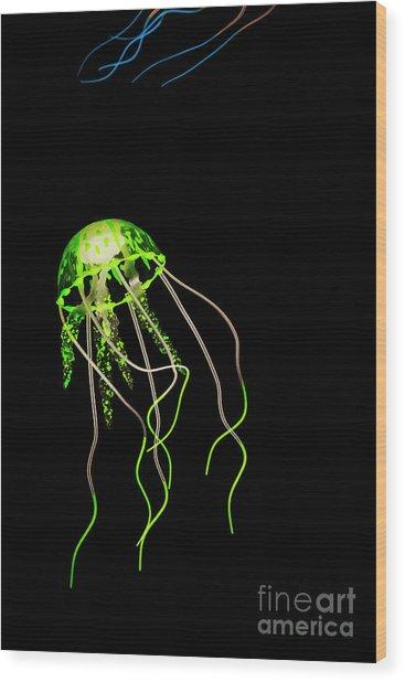 Green Neon Jellyfish Wood Print
