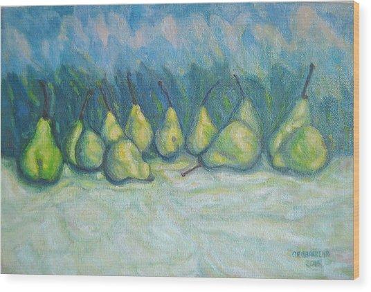 Green Pears Wood Print