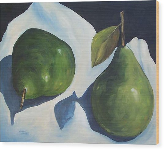 Green Pears On Linen - 2007 Wood Print by Torrie Smiley