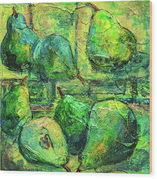 Green Pears Wood Print