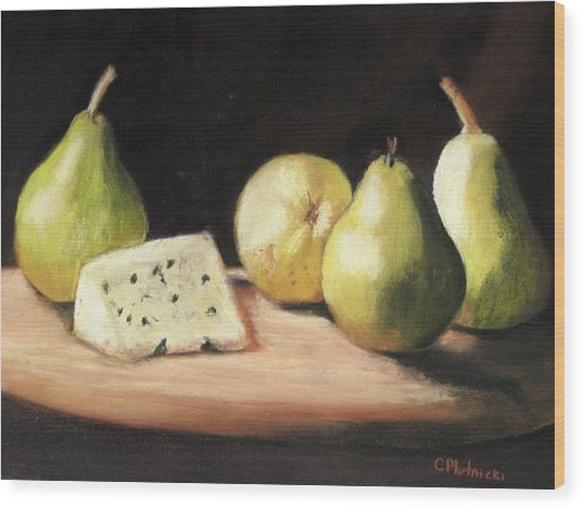 Green Pears With Cheese Wood Print