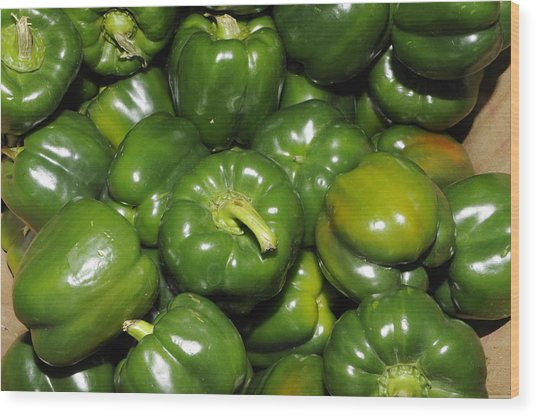 Green Peppers Wood Print