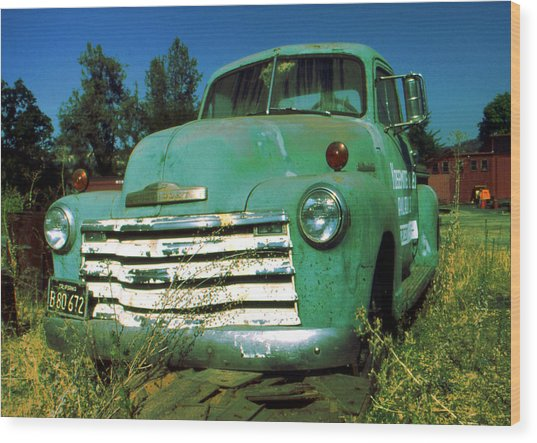Green Pickup Truck 1959 Wood Print