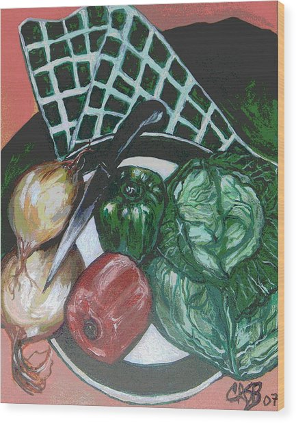 Green Plate Of Cabbage Soup Wood Print by Clara Spencer