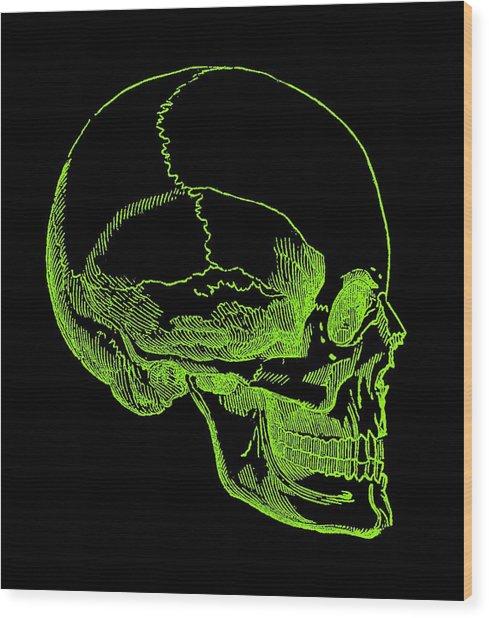 Wood Print featuring the digital art Green Skull by Jennifer Hotai