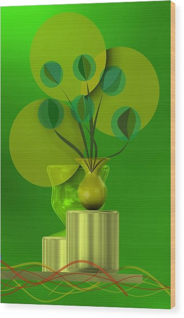 Green Still Life With Abstract Flowers, Wood Print