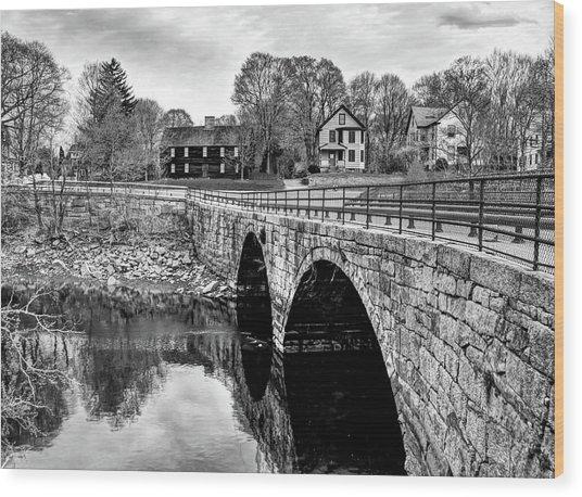 Green Street Bridge In Black And White Wood Print