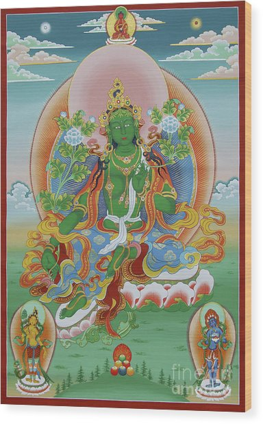 Green Tara With Retinue Wood Print