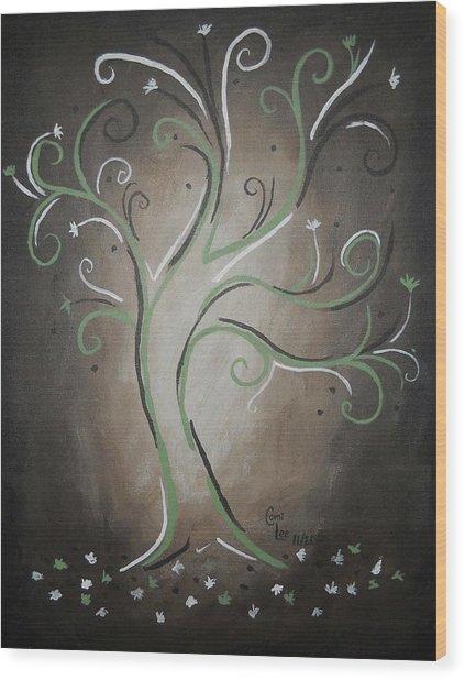 Green Tree Wood Print