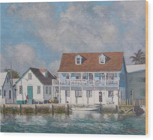 Green Turtle Cay Past And Present Wood Print