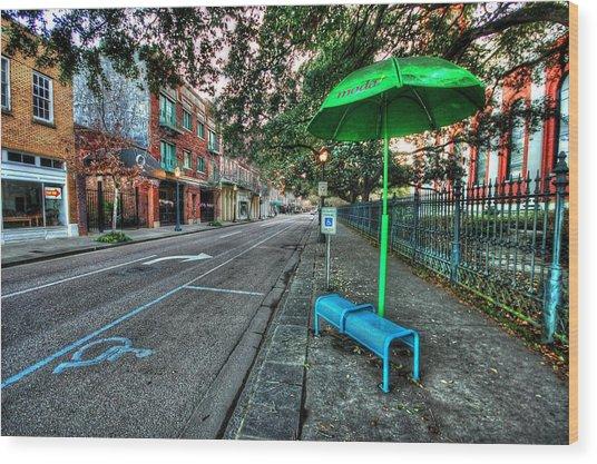 Green Umbrella Bus Stop Wood Print