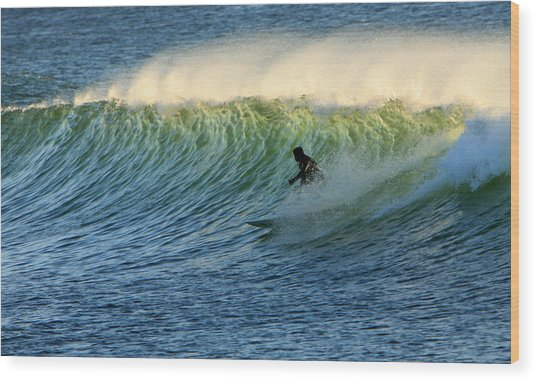 Green Wall Surfer Wood Print by Mike Coverdale