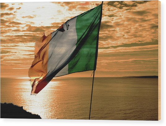 Flag Of Ireland At The Cliffs Of Moher Wood Print