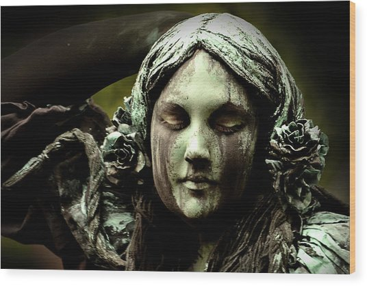 Green Woman A Portrait Wood Print