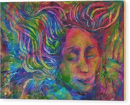Green Woman Wood Print by Lydia Erickson
