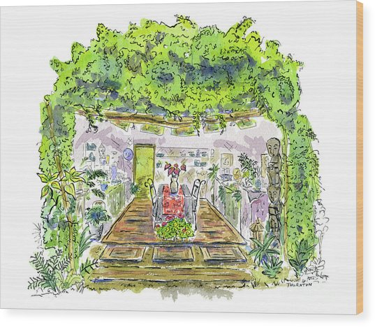 Greenhouse To Volcano Garden Arts Wood Print