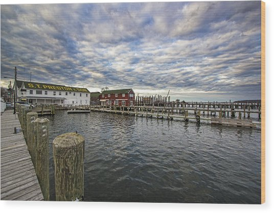 Greenport Dock Wood Print