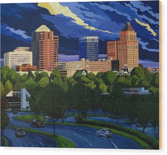 Greensboro Skyline In The Sunshine Wood Print