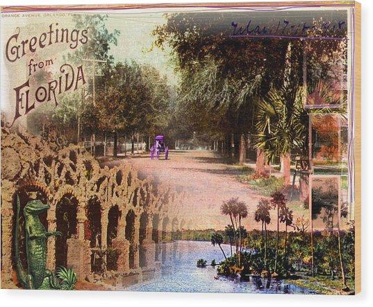 Greetings From Florida Wood Print by Deborah Hildinger