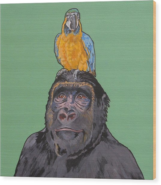 Gregory The Gorilla Wood Print
