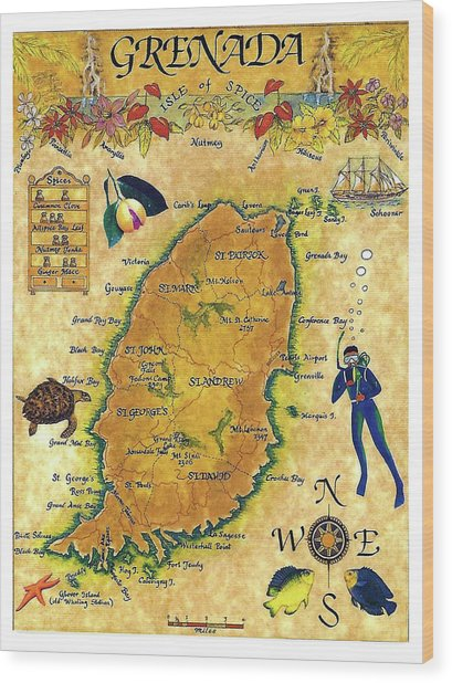 Grenada, Isle Map, Scuba Diving Wood Print