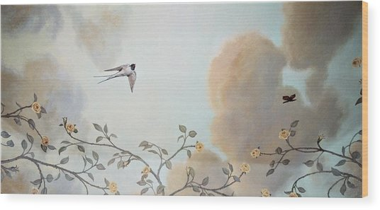 Grey Cloudy Flight By Dove Wood Print