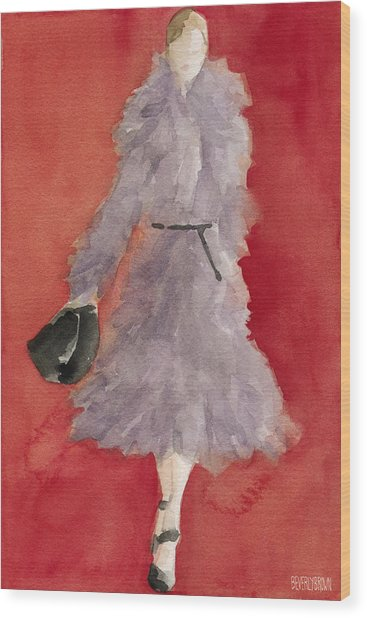 Grey Coat - Watercolor Fashion Illustration Wood Print by Beverly Brown Prints