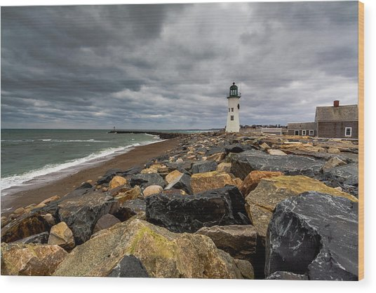 Grey Day At Scituate Lighthouse Wood Print