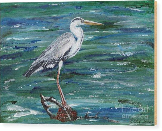 Grey Heron Of Cornwall -painting Wood Print