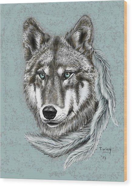 Grey Wolf Wood Print