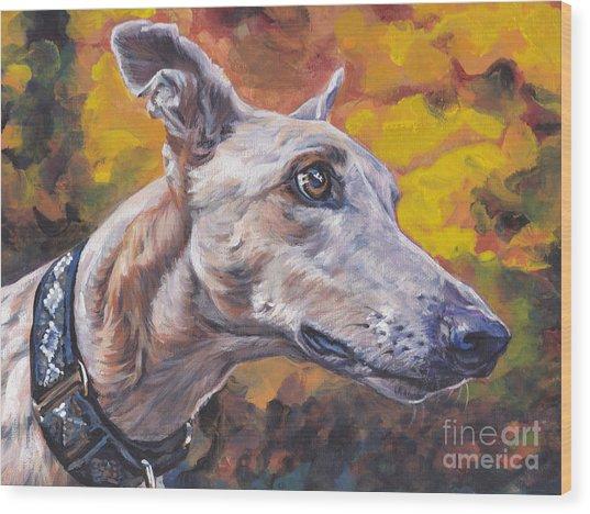 Greyhound Portrait Wood Print