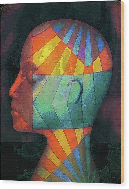 Grid Head 2 Wood Print