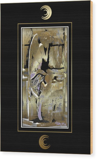 Grief Angel - Black Border Wood Print