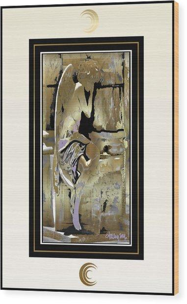 Grief Angel - Light Border Wood Print
