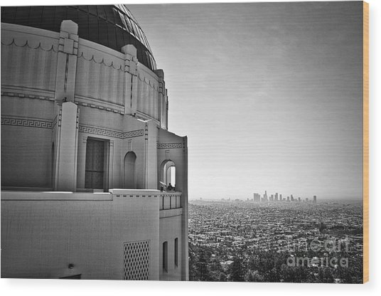 Griffith Observatory And Downtown Los Angeles Wood Print