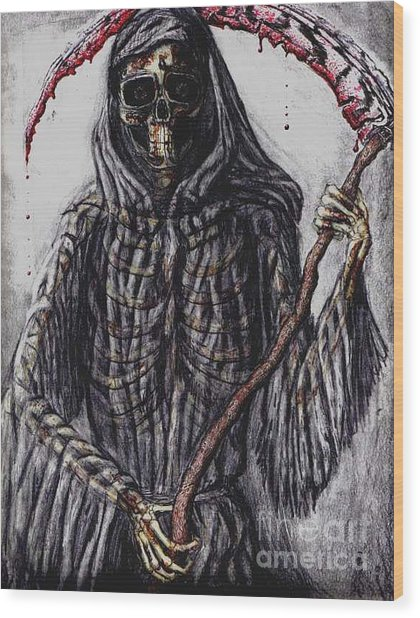Grim Reaper Colored Wood Print by Katie Alfonsi