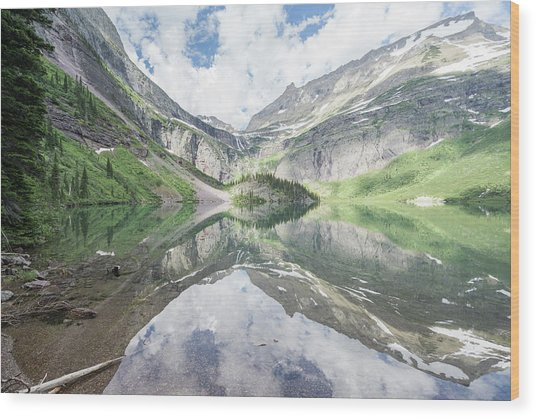 Grinnell Lake Mirrored Wood Print