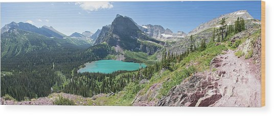 Grinnell Lake Panoramic - Glacier National Park Wood Print