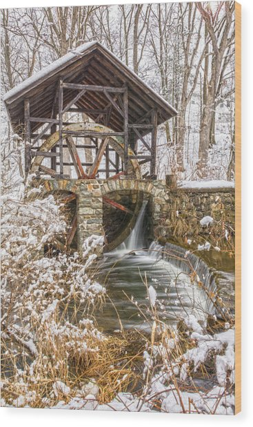 Grist Mill In Fresh Snow Wood Print
